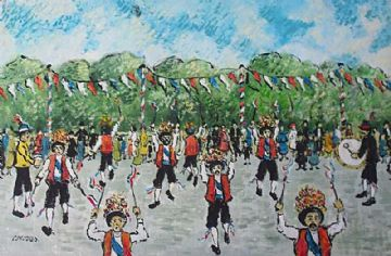 Charles M Jones Original Oil Painting Morris Dancers